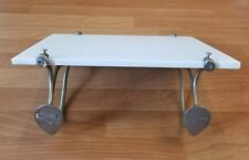 ANTIQUE MILK GLASS SHELF WITH NICKEL PLATED MOUNTING BRAKETS