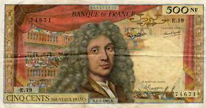 BILLET DE BANQUE FRANCE 500 FRANCS MOLIERE B.8.1.1965B ETATTB