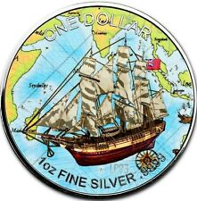 2017 1 OZ SILVER *SHIP BOUNTY* COIN - MINTAGE 100 PCS BOX & COA..-COOK ISLANDS..