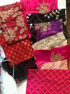 10 Pcs Indian Fabric Sari Scraps Boho Embellishments