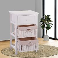 White Chic Nightstand End Table Bedroom Bedside Furniture 2 Wicker Storage Wood