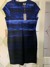 Designer Phase Eight Dress Uk 18 Nwt Blues /black Stretchy Fitted/wiggle