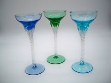 "S/3 Blefeld Twisted Stem Color Crystal Glass Liqueur Cordials 6"" Portugal"