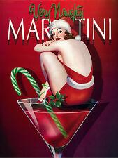 """Very Naughty Martini, Rétro Métal Signe/Plaque, Cadeau 10"""" x 8"""" Large"""
