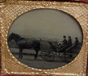 AMBROTYPE HORSE & CARRIAGE SIXTH PLATE