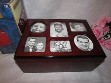 NIB TEAK BURL WOOD MEMORY PHOTO BOX BY INTERNATIONAL DEVELOPMENT CORP IN USA
