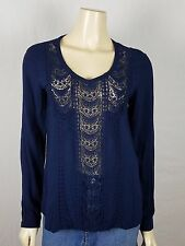 BEYOND VINTAGE Anthropologie long sleeved Blue Lace Tunic top size Small