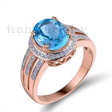 Blue Topaz 14Kt Rose Gold Natural Diamonds Oval 8x10mm Ring For Sale R00315