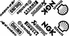 Motorcycle belly pan decals graphics Sponsors x 14 angled most colours available
