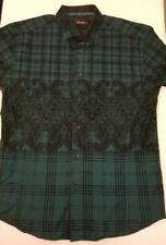 Bespoke Mens XL Slim Fit Embroidered Button Front Spred Collar Shirt Dark Green