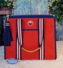 NWT TORY BURCH Embroidered-T Tote Canvas Tassel CHERRY APPLE Handbag $250