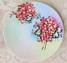 ANTIQUE 1900-1920 OHME SILESIA HAND PAINTED CERAMIC PLATE FLORAL PATTERN GERMANY