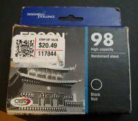 New Genuine Epson 98 HighCap Black Ink Cartridge T098120 Sealed Box Exp 04.2021