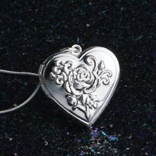 925 Sterling Silver Plated Heart Locket Chain Necklace Box Snake Chain Jewelry^^