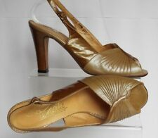 vtg Renata 4,5 / 37,5 all leather  gold Pearl Slinbacks Peep toe High heels
