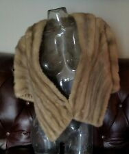 Silver MINK Fur Stole ~ Vintage Bridal Shawl ~ Gray Real Fur Wrap Cape