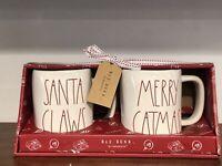 Rae Dunn Christmas By Magenta LL SANTA CLAWS MERRY CATMAS coffee Mug, Set of 2