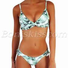 Women Fresh Leaves Falbala Bikini Set Push Up Padded Swimwear Swimsuit Beachwear