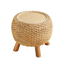 Round Foot Stool Shoe Ottoman Wooden 3 Leg Rattan Dressing Makeup Wicker Pouf