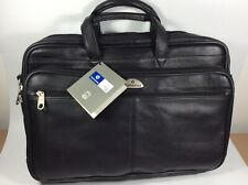 "Samsonite Leather Business Case Expandable Laptop Briefcase 17"" X 11"" NWT"