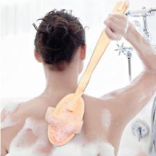LONG HANDLED WOODEN SPA BODY SPONGE SHOWER LOOFAH BACK BATH SISAL BRUSH SCRUBBER