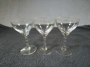 3 Beautiful Vintage Clear Glass Twisted Stem Wine / Cocktail / Drinks Glasses