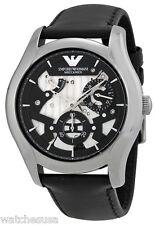 Emporio Armani AR4673 Meccanico Grey Dial Leather Strap Automatic Men's Watch