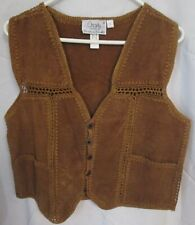 Charly Co. Leather Vest Women Size Large Vintage Rockabilly Cowgirl