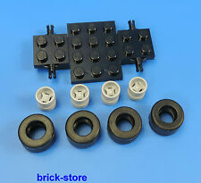 Lego véhicule utilitaire/AUTO 1 x Plaque de base 4 x Pneu 4 X JANTES gris clair