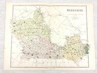1889 Antique Map of Berkshire Newbury Wokingham Abingdon 19th Century Original