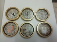 6 vintage Brass Coasters set With German Cities Emblems See Photos For Condition