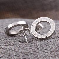 Nouveau en acier inoxydable en argent cercle cristal strass boucles d'oreilles
