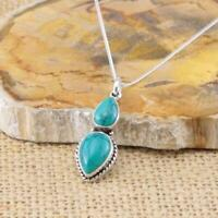 Turquoise 925 Sterling Silver Pendant Necklace Gemstone Jewellery