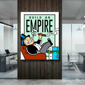 """YA1507 Alec monopoly BUILD AN EMPIRE Hand-painted oil painting Unframed 36"""""""