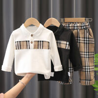 Kids Boys Plaid Long Sleeve Tops Polo Shirt+Trousers Pants Fashion 2PCS Set