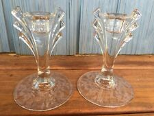 Vtg Pair Of Elegant Clear Etched Depression Glass Winged Candle Holders