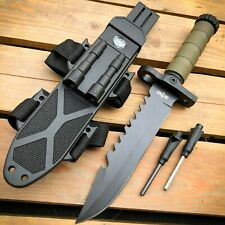 "12.5"" Tactical Hunting Fixed Blade Army Military Survival Knife w Fire Starter"