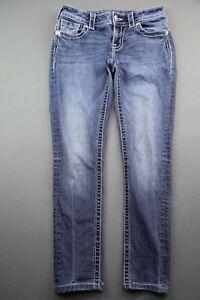 Women's Miss Me Denim Jean Cropped Capri Skinny Mid Rise Size 25 (Measure 26x25)