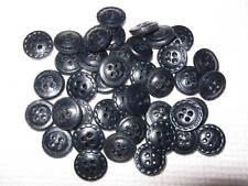 LOT DE 40 BOUTONS ANCIEN EN VRAI CUIR BLEU MARINE--16 mm N°4