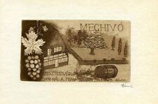 Grape Wine Farm, Ex libris Bookplate by Daniel Victor, Hungary