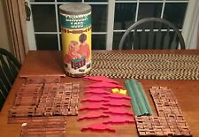 Lincoln Logs Wood Building Toys Lot of 182 Pieces Vintage