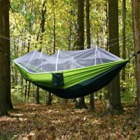 Portable Double Hammock with Mosquito Net Camping Survival Parachute Cloth NEW -