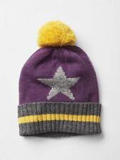 GAP Baby / Toddler Girl M / L / 4T / 5T Purple Yellow Star Sweater Hat w/Pom-Pom