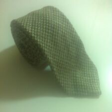 Vintage Skinny Wool Silk Linen Necktie Gray Stripe Pattern SLIM Jones New York