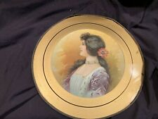 """Antique Victorian Chimney Flue Cover Girl Lithograph Round 11"""""""