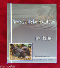 2004 New Zealand - Chatham Taiko, $5 Frosted Proof Coin, 28.28g of 99.9% Silver