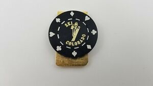 Vintage SKI COLORADO Poker Chip Gold Tone Money Clip Skiing G6