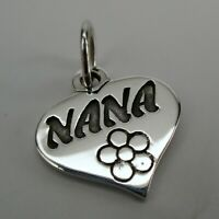 Sterling Silver NANA Charm for Bracelet HEART Necklace Pendant GRANDMA GIFT Cute
