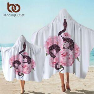 Eagle Hooded Towel Geometric Microfiber Bath Towel Hoodie Wearable Beach Blanket
