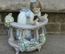 Lladro Morning Song #6658- Girl With Bird And Flowers Figurine